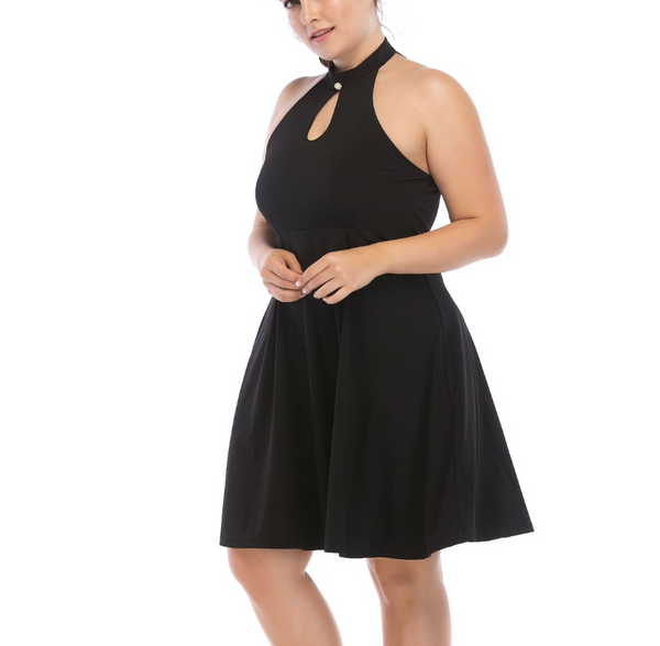 Plus-Size Pure Color Sexy Sling Sleeveless Dress