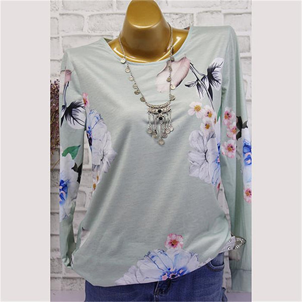 Fashion printed long-sleeved V-neck T-shirt