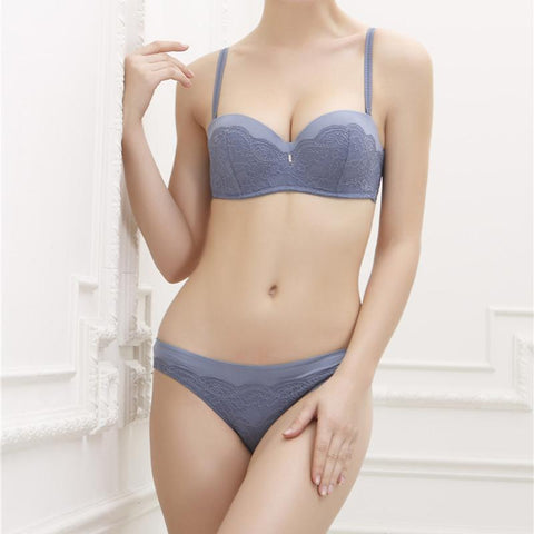 Solid color lace non-slip gathered half cup bra set