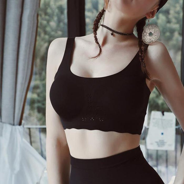Hollow ice muscle aerobic no trace no steel ring gather sports sleep bra