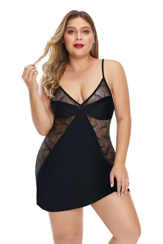 CHICWESTYLE Black Print Lace Hollow-out Plus Size Lingerie