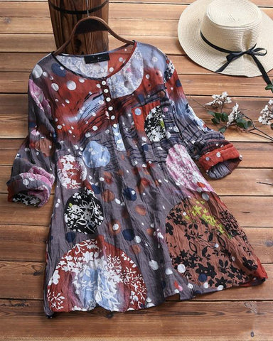Vintage Print Wrinkle Crew Neck Button Long Sleeve Plus Size Shirts