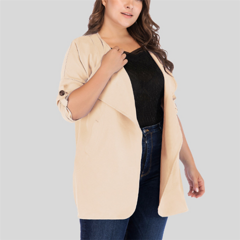 Plus-Size Loose Lapel Long Sleeves Solid Color Cardigan