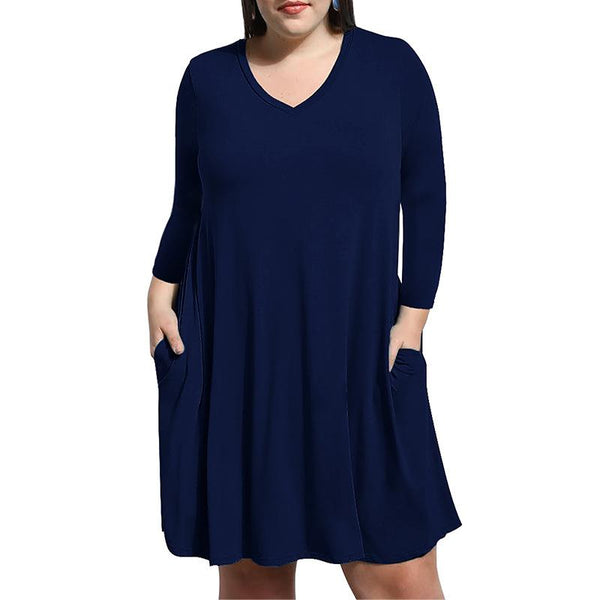 Large V Collar Nine Loose Sleeves Casual Dress