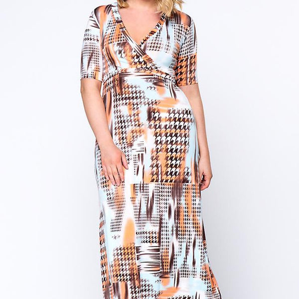 Plus Size Maxi Dress Houndstooth Printed Deep V-Neck