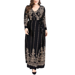 Larger loose long-sleeved retro printed body dress