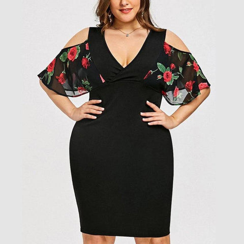 Plus Size Bodycon Dress V-Neck Floral Print Black Floral