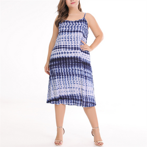 Plus-Size Fashion Sexy Tie-Dye Sling Dress