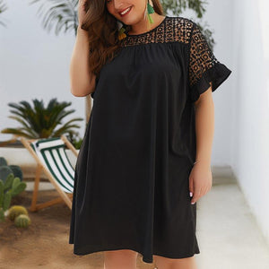 Women's Large Lace Round Collar Pure Short-Sleeved Mini Dress