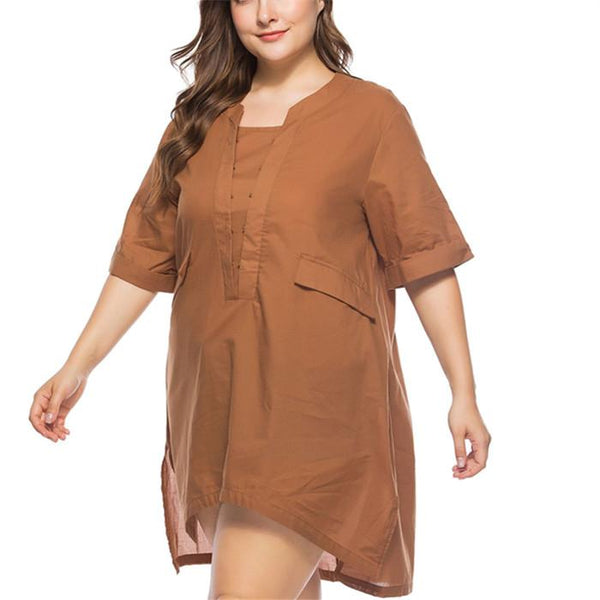 Plus-size irregularly hem vintage medium sleeved solid color shirt