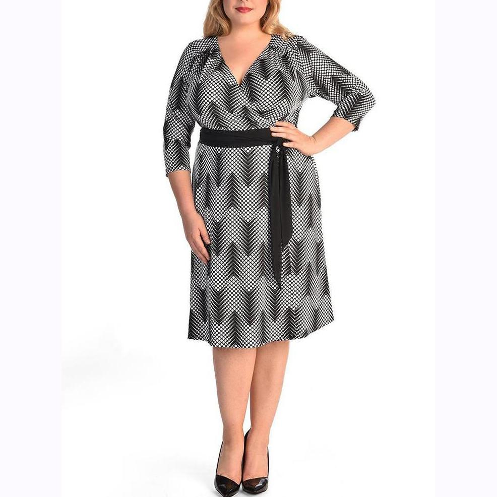 Plus Size Commuting V Neck Belted Printed Colour Dress Vintage