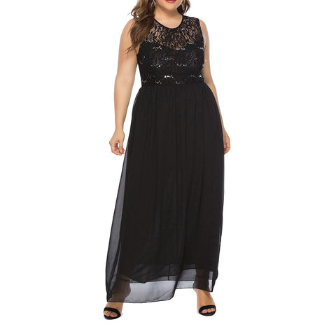 Plus Size Womens Long Sleeveless Pearl Bead Dress Chiffon