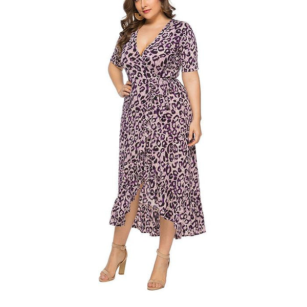 Plus-Size Sexy V-Neck Irregular Leopard Print Flounces Dress