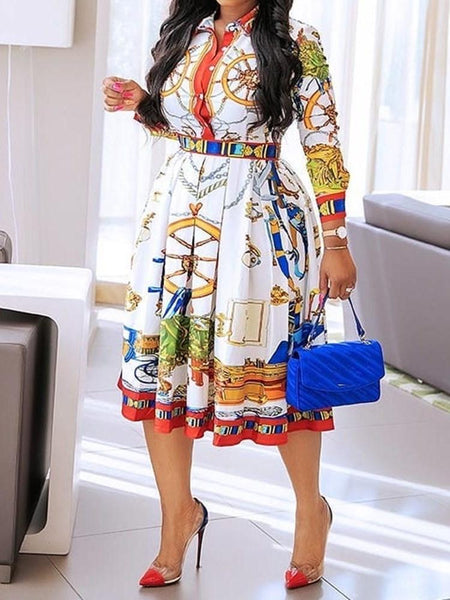 Lapel Print Three-Quarter Sleeve A-Line Geometric Dress