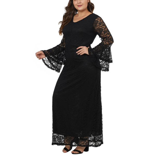Plus-Size Sexy V-Neck Flared Long-Sleeve Zipper Lace Dress