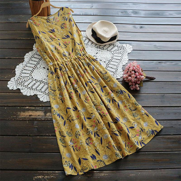 Retro printed loose sleeveless dress