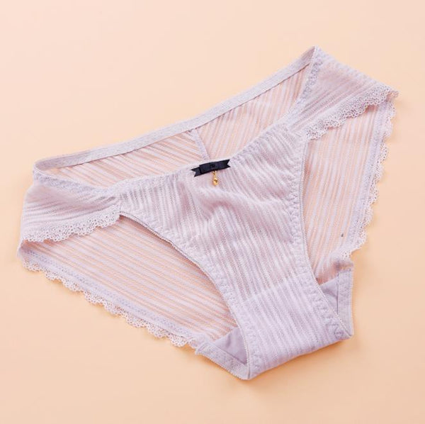 Plus size striped lace sexy transparent low waist briefs