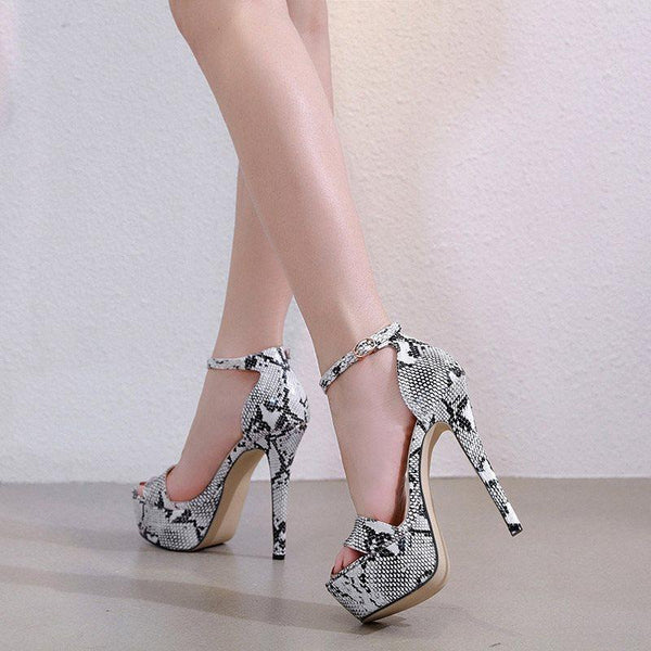 Stiletto Heel Line-Style Buckle Open Toe Heel Covering Serpentine Casual Sandals