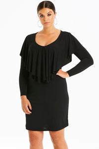 Black Ruffled Poncho Front Curvy Dress
