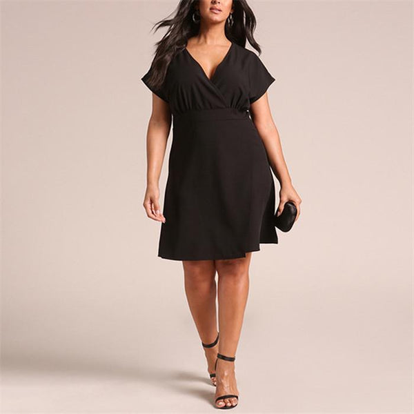 Plus-Size Pure Color Sexy V-Neck Knitting Dress