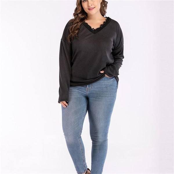 Plus-Size Solid Lace V-Neck Flared Long Sleeves T-Shirt