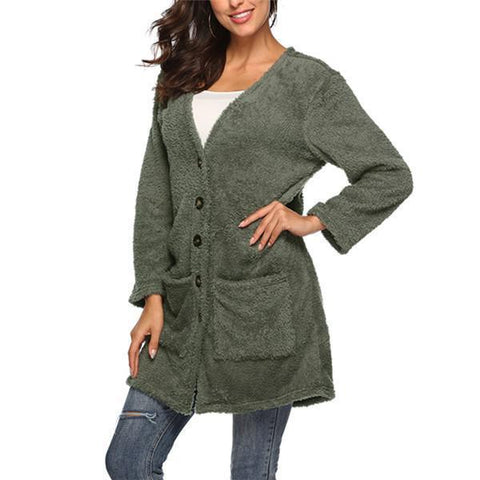 Long plush cardigan in fashionable autumn and winter
