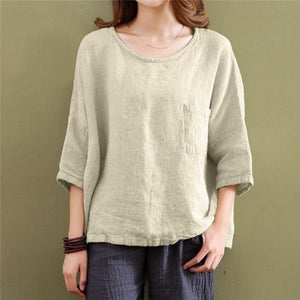Pure color cotton and linen large size loose shirt