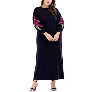 Plus-Size Fashion Round Collar Printed Dress