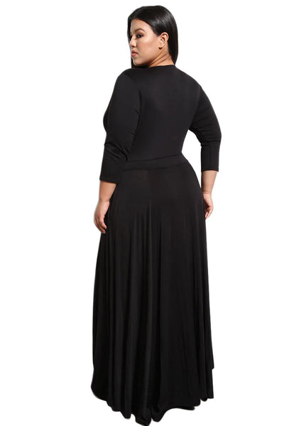 Black Plus Size Pocketed V Neck Maxi Dress