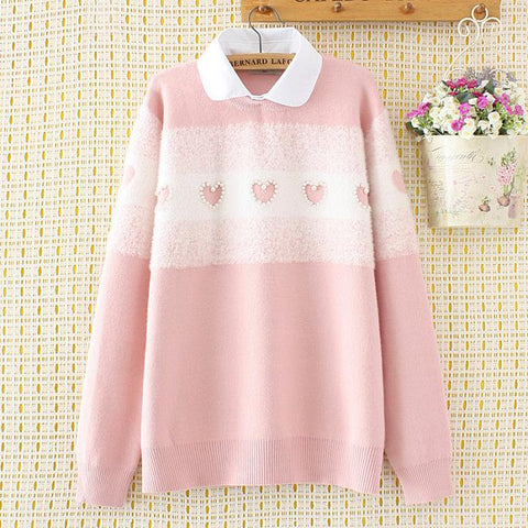 Fake Two-Piece Lapel Doll Collar Sweater Large Size Bottoming Shirt