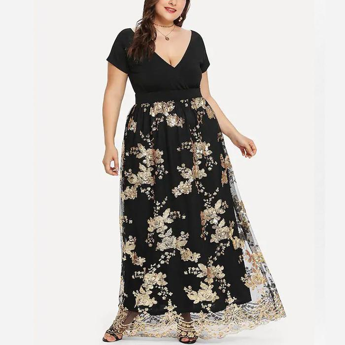 Plus-Size Sexy V-Neck Bead Embroidery Dress