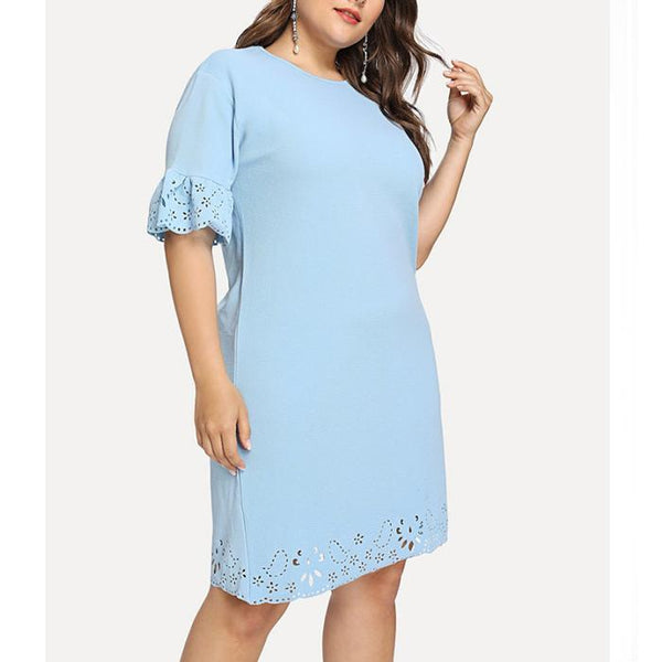 Plus-Size Fashion Sexy Pure Color Hollow Out Dress