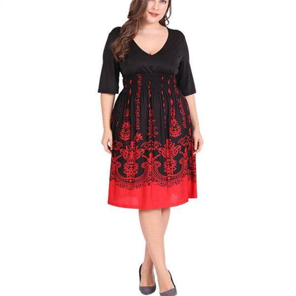 Plus-Size Vintage Print V-Neck Mini Dress Black Floral