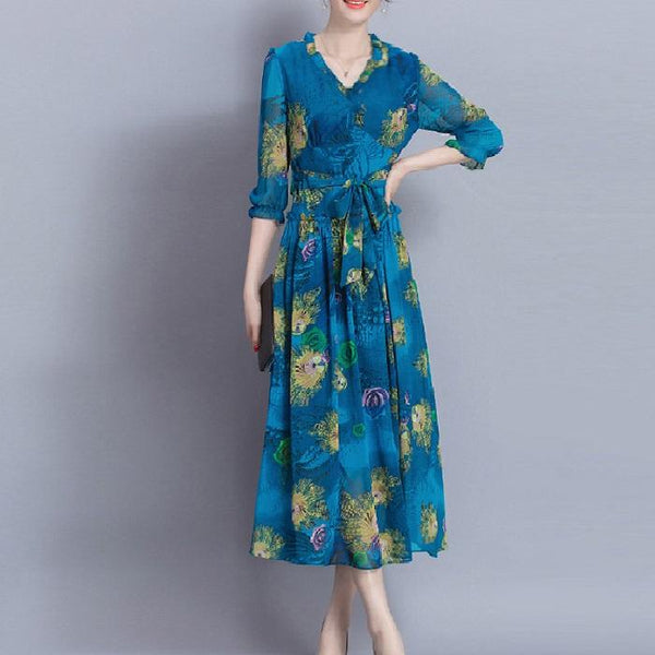 V-Neck Tie With Slim Cropped Sleeves Silk Long Print Dress
