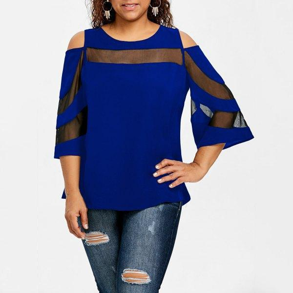 Sexy Off Shoulder Splicing Perspective T-Shirt
