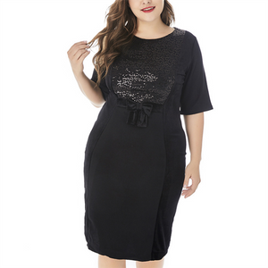 Plus-size pure color short sleeved round collar sequins dress