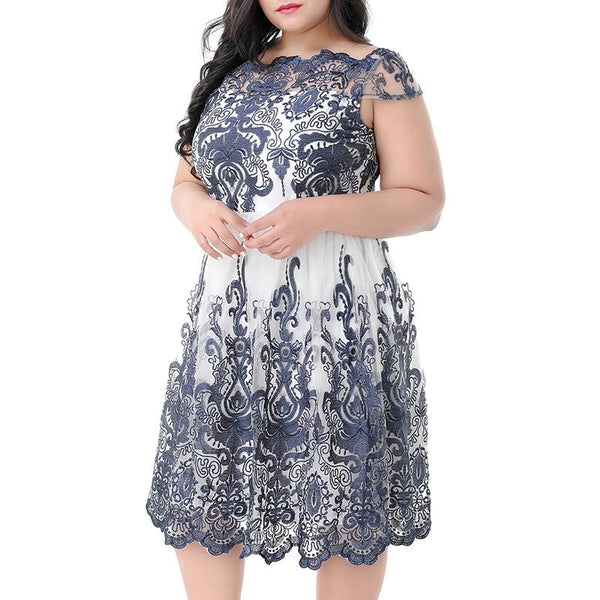 Lace Hollow Wave Word Lead Swagger Vintage Midi Dress