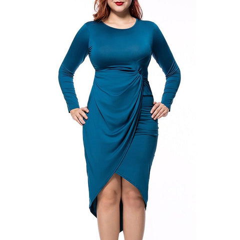 Plus Size Bodycon Dress Ruched Asymmetric Hem Solid Round Neck