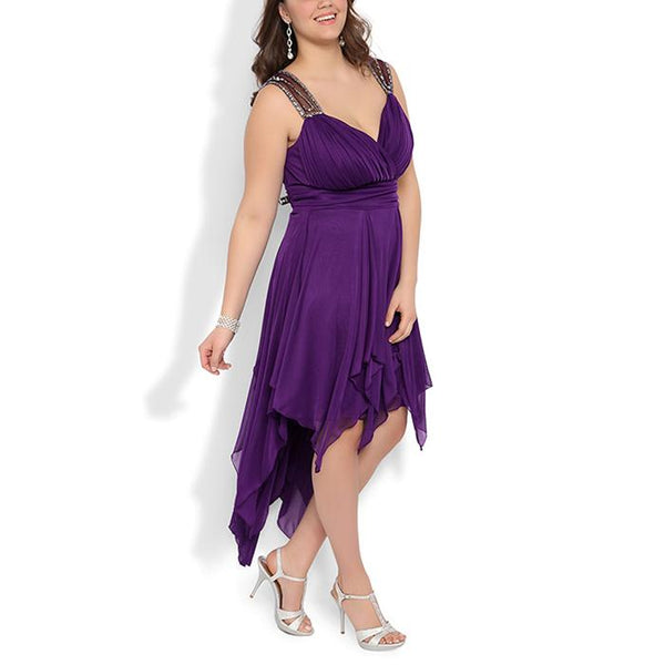 Plus-Size Sexy V-Neck Pure Color Sling Dress