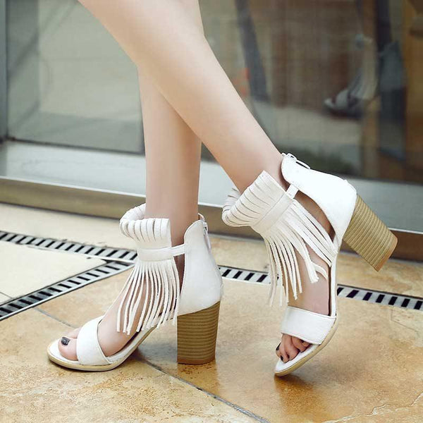 Open Toe Chunky Heel Zipper Heel Covering Low-Cut Upper Western Sandals