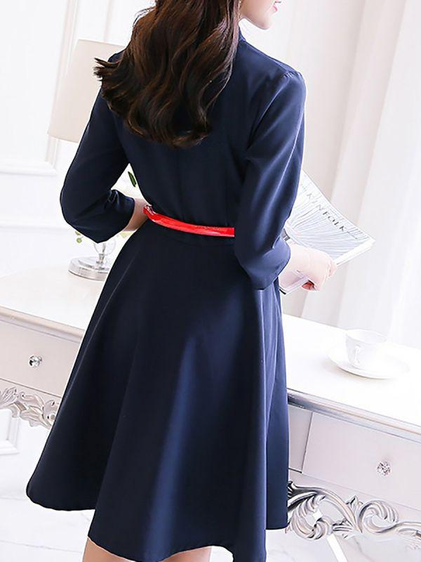 CHICWESTYLE Plus Size V-Neck Midi Dress Date Dress 3/4 Sleeve Work Buttoned  Plus Size Dresses