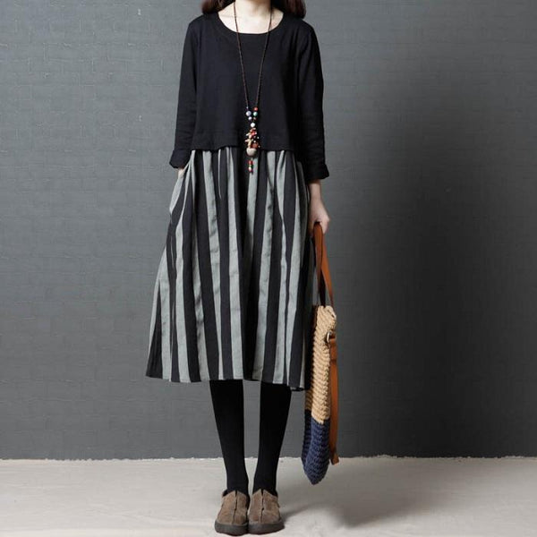 Loose Large Size Fashion Comfortable Striped Cotton Dress