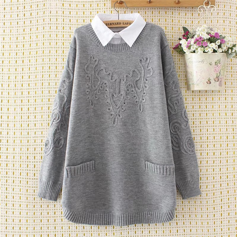 Fashion pure collar long-sleeved fake two-piece lapel sweater