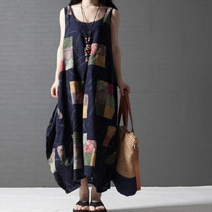 Ethnic Style Literary Print Stitching Cotton And Linen Vest Dress