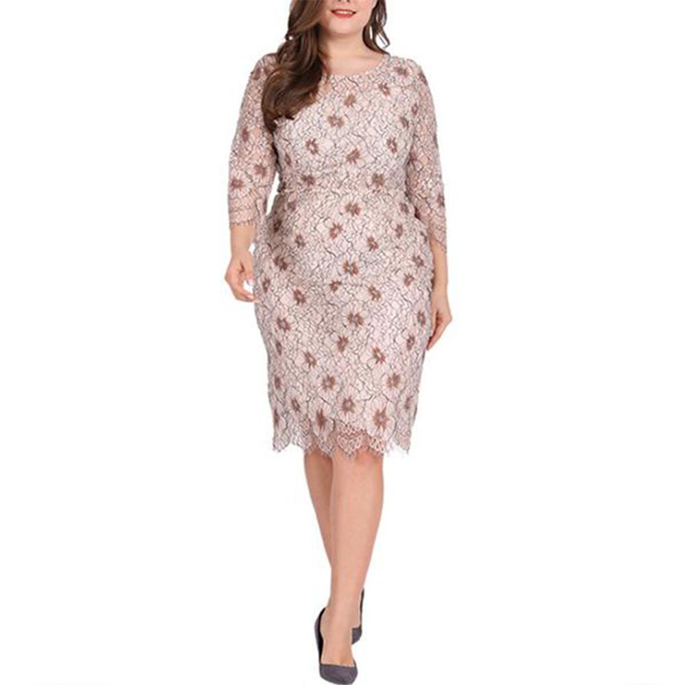 Plus-Size Lace Cut-Out Print Dress