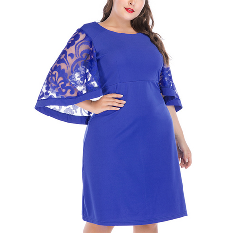 Plus-size solid color hollowing out loose flared sleeve dress