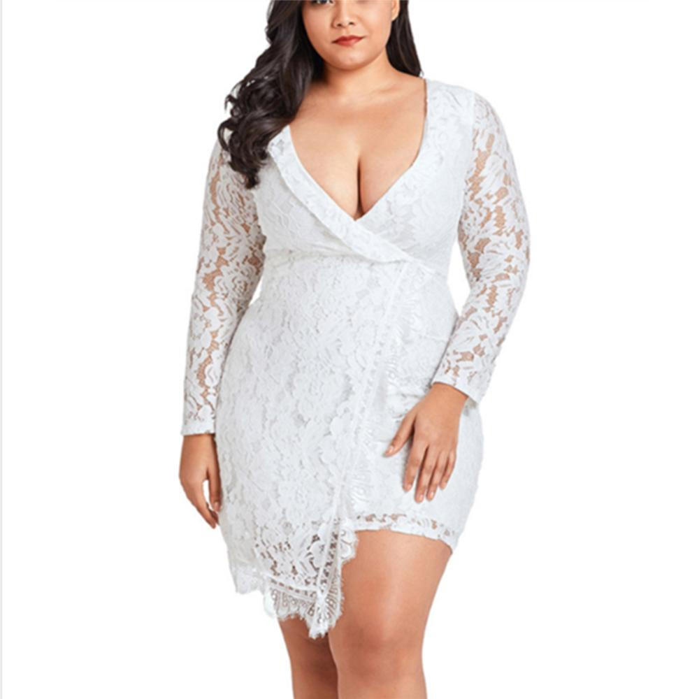 Plus-size pure color sexy hollowed-out lace long sleeves dress