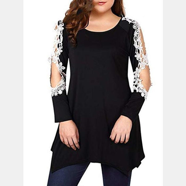Plus-Size Off Shoulder Lace Splicing Long Sleeves T-Shirt