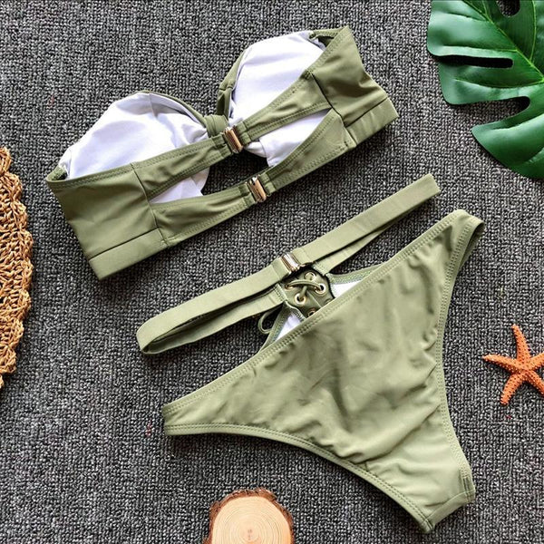 Sexy solid color strap bikini split swimsuit