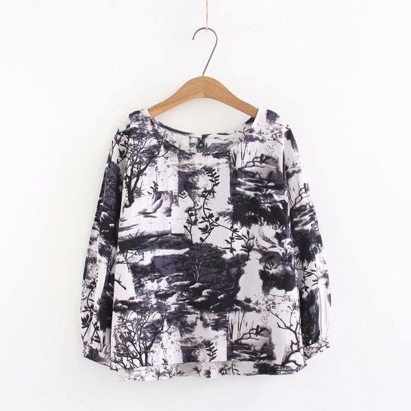 Plus-Size Cotton Printing Round Neck T-Shirt